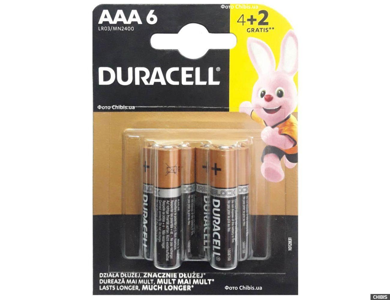 Duracell AAA Basic LR03 1.5V Alkaline 4+2 блистер 6 шт