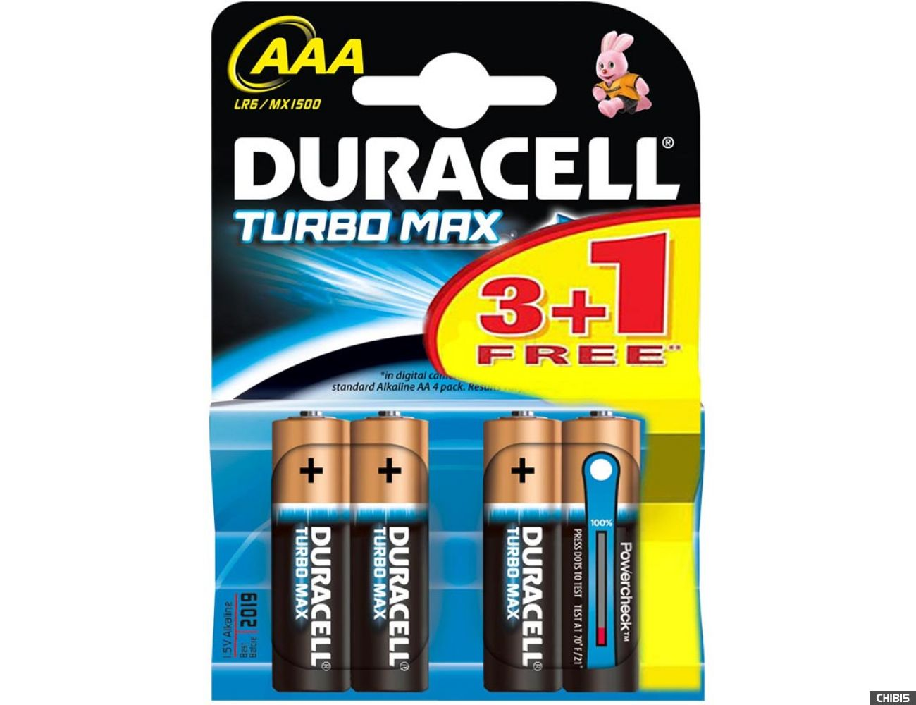 Батарейка ААА Duracell Turbo Max LR03 1.5V Alkaline 3 шт+1 бесплатно блистер 4/4шт.