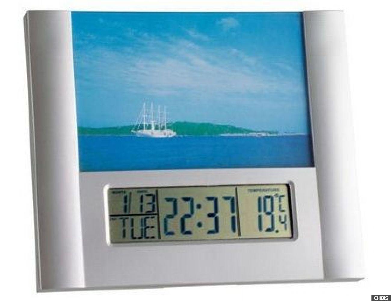 Настольные часы TFA (981093) с фоторамкой, 170х200х18 мм