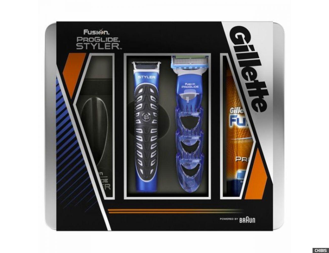 Gillette Styler Fusion ProGlide Power триммер для бороды и усов + гел д/б 200мл мет уп 7702018359677