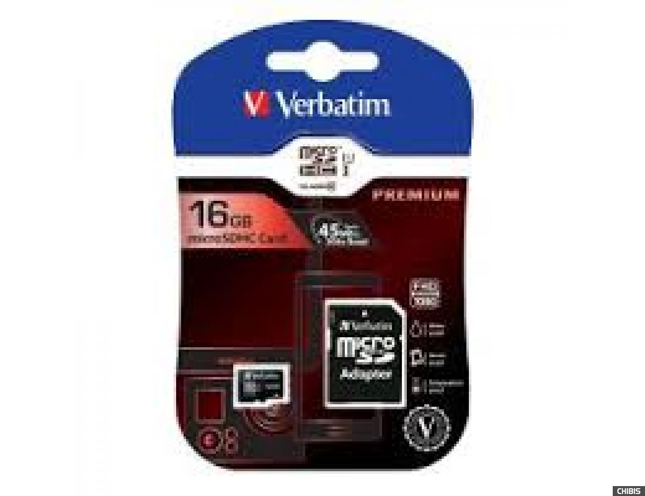 Карта памяти VERBATIM MicroSDHC 16Gb (Class 10) с SD адаптером 44082