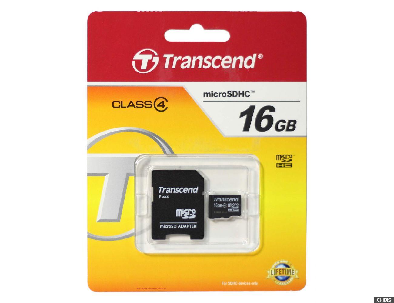 Карта памяти Transcend MicroSDHC 16Gb (Class 4) + SD adapter