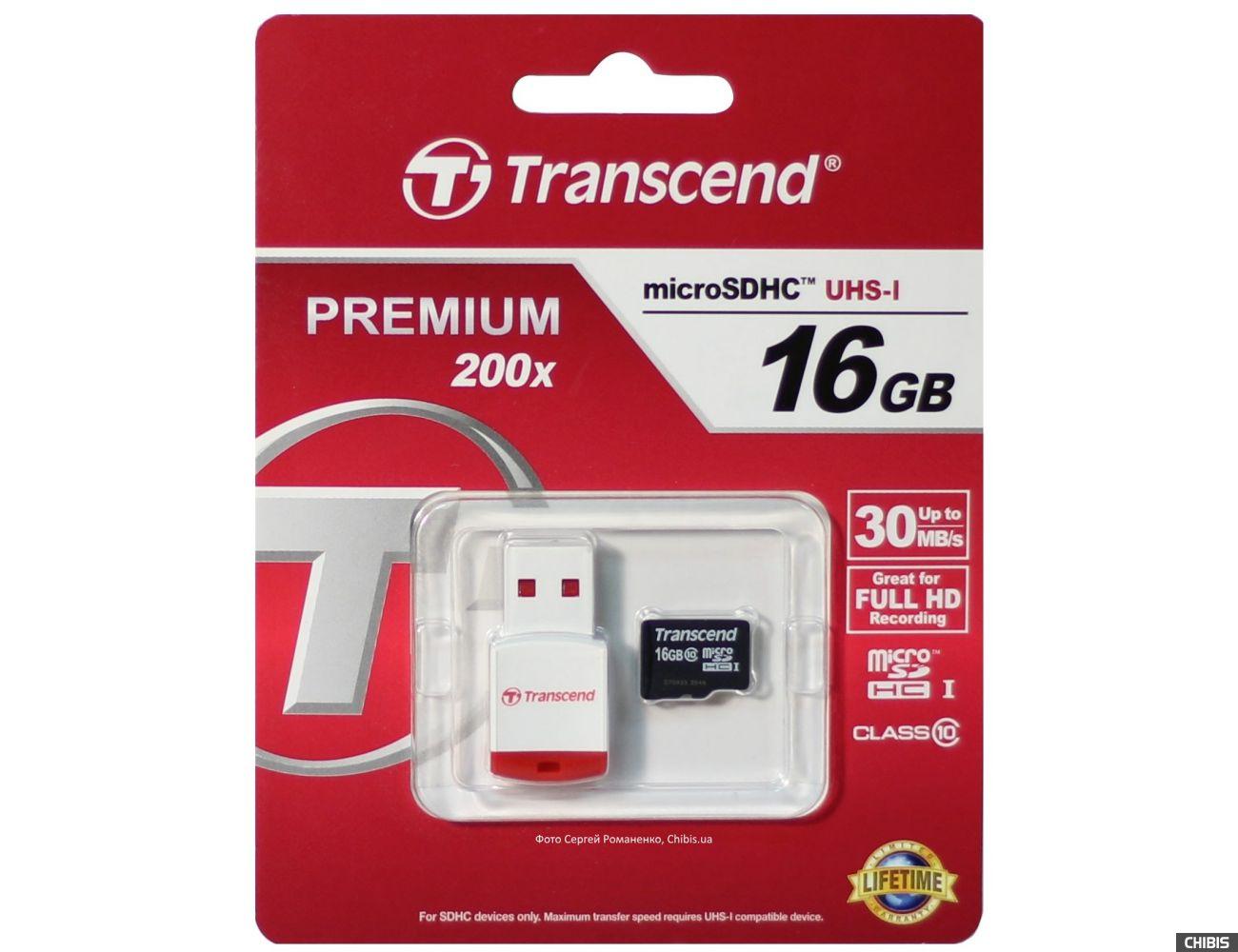 Карта памяти Transcend MicroSDHC 16Gb Class 10 200x с кардридером