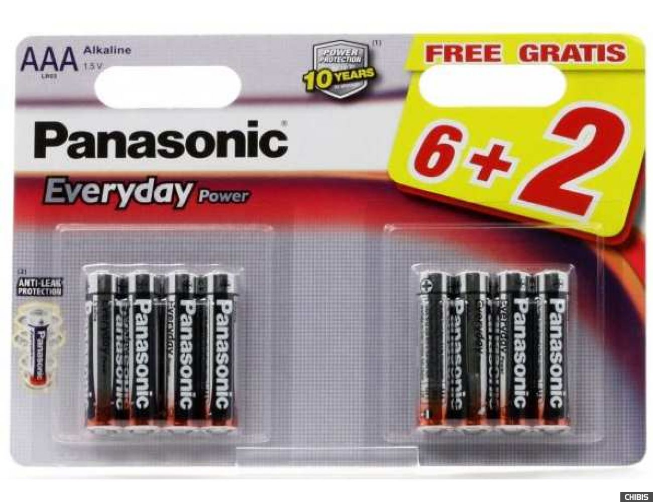 Батарейка ААА Panasonic Everyday Power 6+2 LR06 1.5V alkaline блистер 8/8 шт