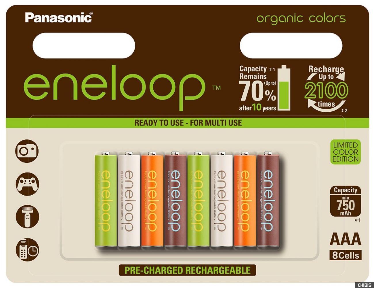 Аккумуляторные батарейки ААА Panasonic 750 mAh Eneloop Organic Colors 8HH Ni-MH BK-4MCCE/8RE 8/8 шт