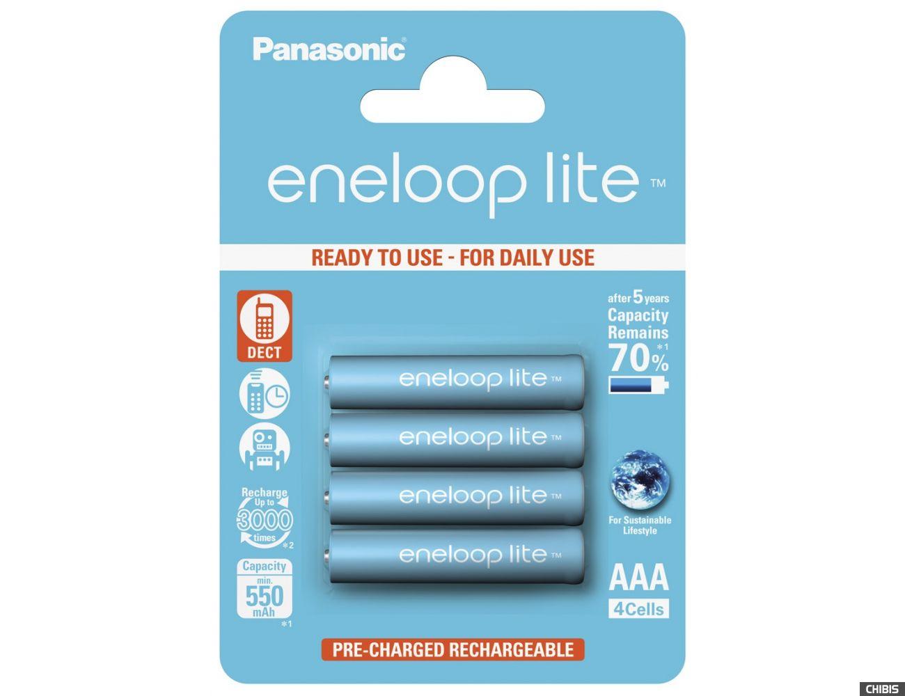 Аккумуляторные батарейки ААА Panasonic 550 mAh Eneloop Lite 4BP Ni-MH BK-4LCCE/4BE 4/4 шт