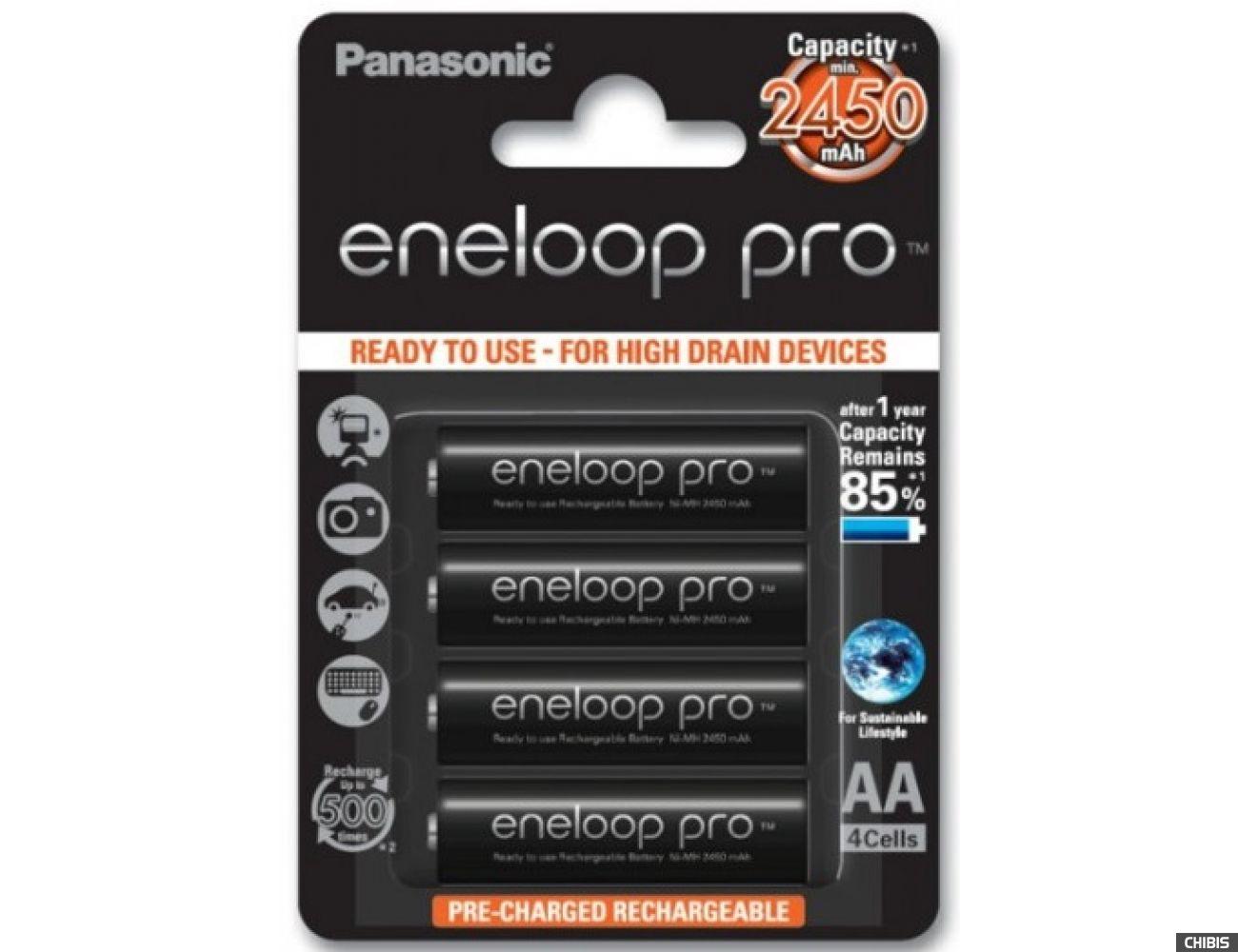 Аккумуляторные батарейки АА Panasonic 2450 mAh Eneloop Pro 4BP Ni-MH BK-3HCCE/4BE 4/4 шт