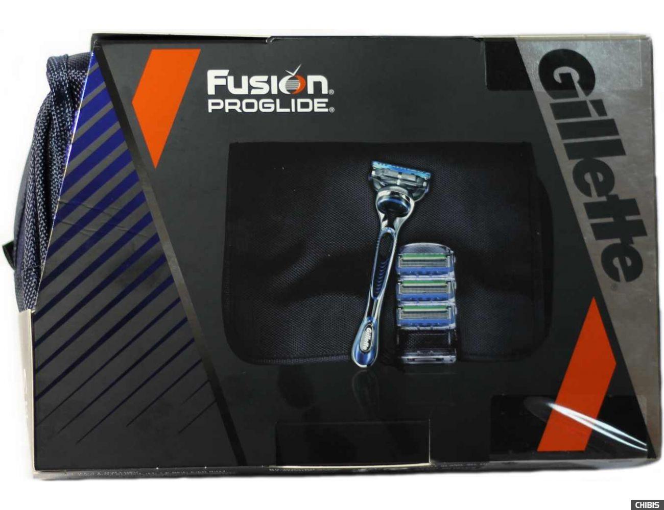 Подарочный набор Джилет Фьюжн Проглайд станок с кассетой + 3 доп кассеты и сумочка
