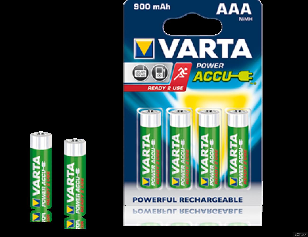 Аккумуляторные батарейки ААА Varta 900 mAh Power HR03, 900 mAh, 1.2V, Ni-Mh  56713101404