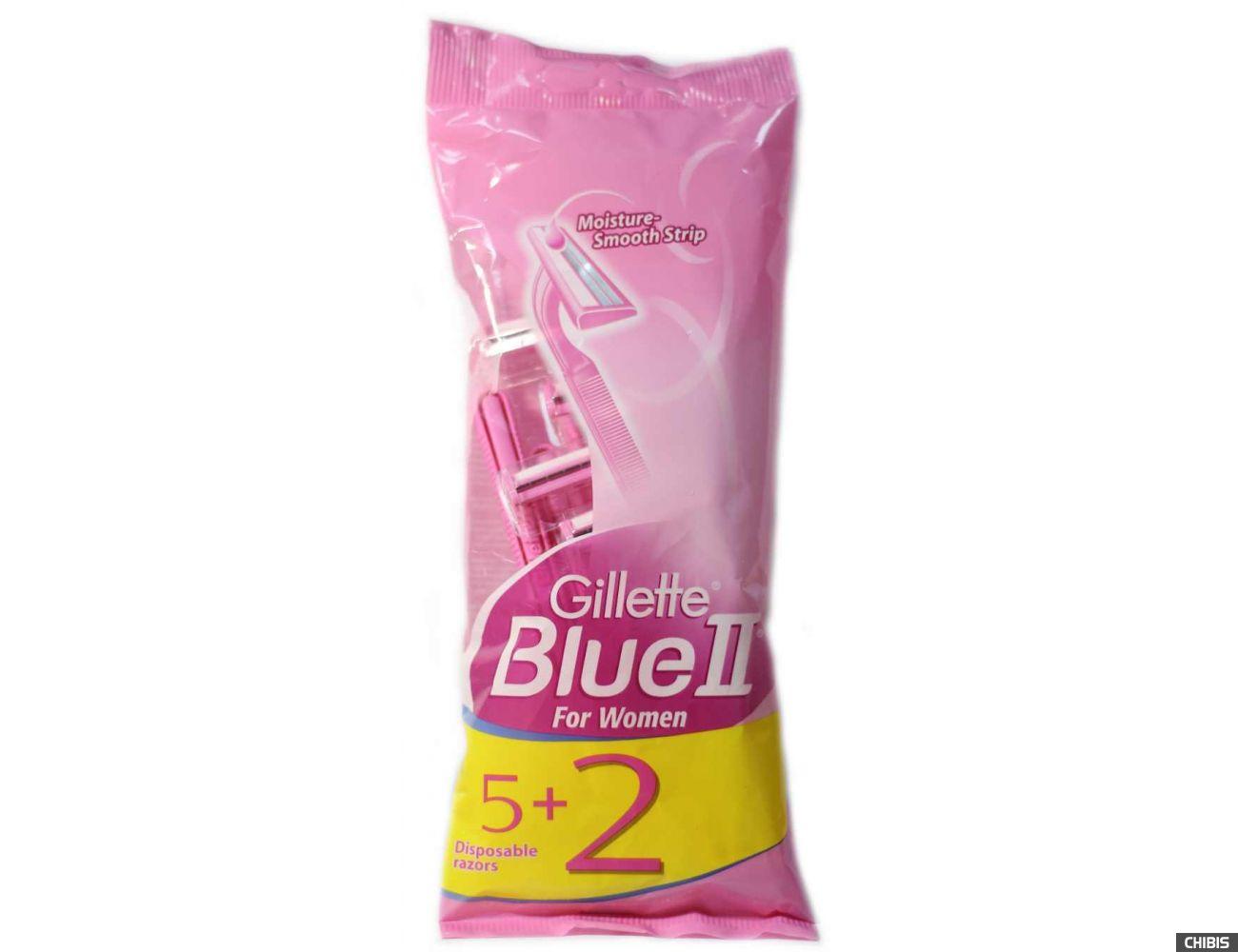 Бритва для женщин Gillette Blue II одноразовая 5 шт. + 2 шт бесплатно 7702018069361