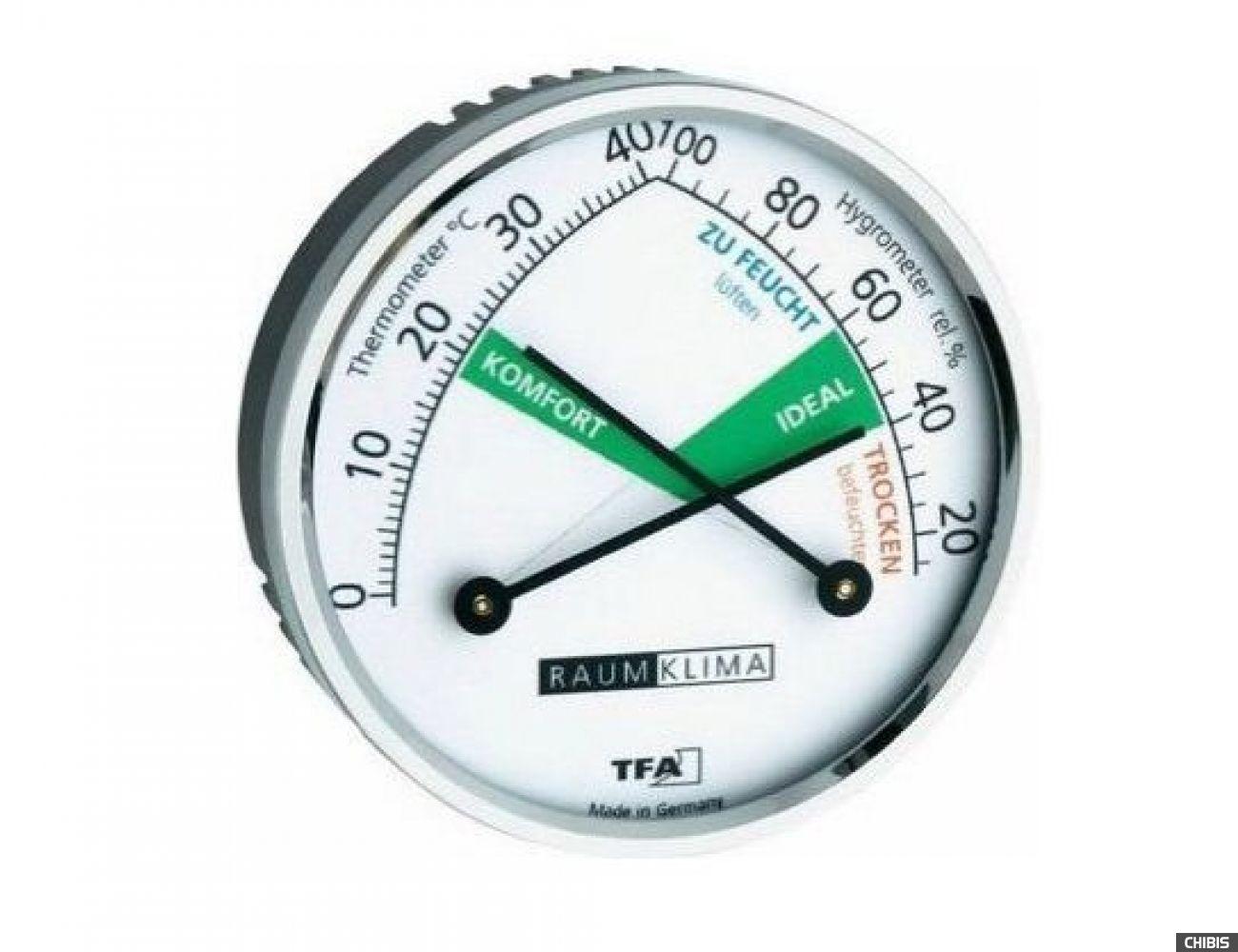 Термогигрометр TFA (452024), цветная шкала, d=70 мм