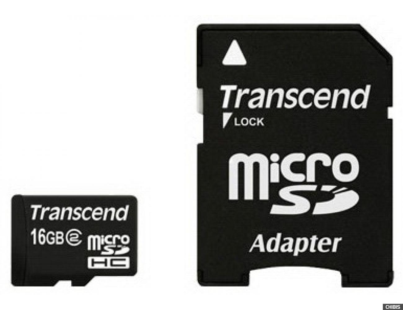 Карта памяти Transcend MicroSDHC 16Gb (Class 2) + SD адаптер