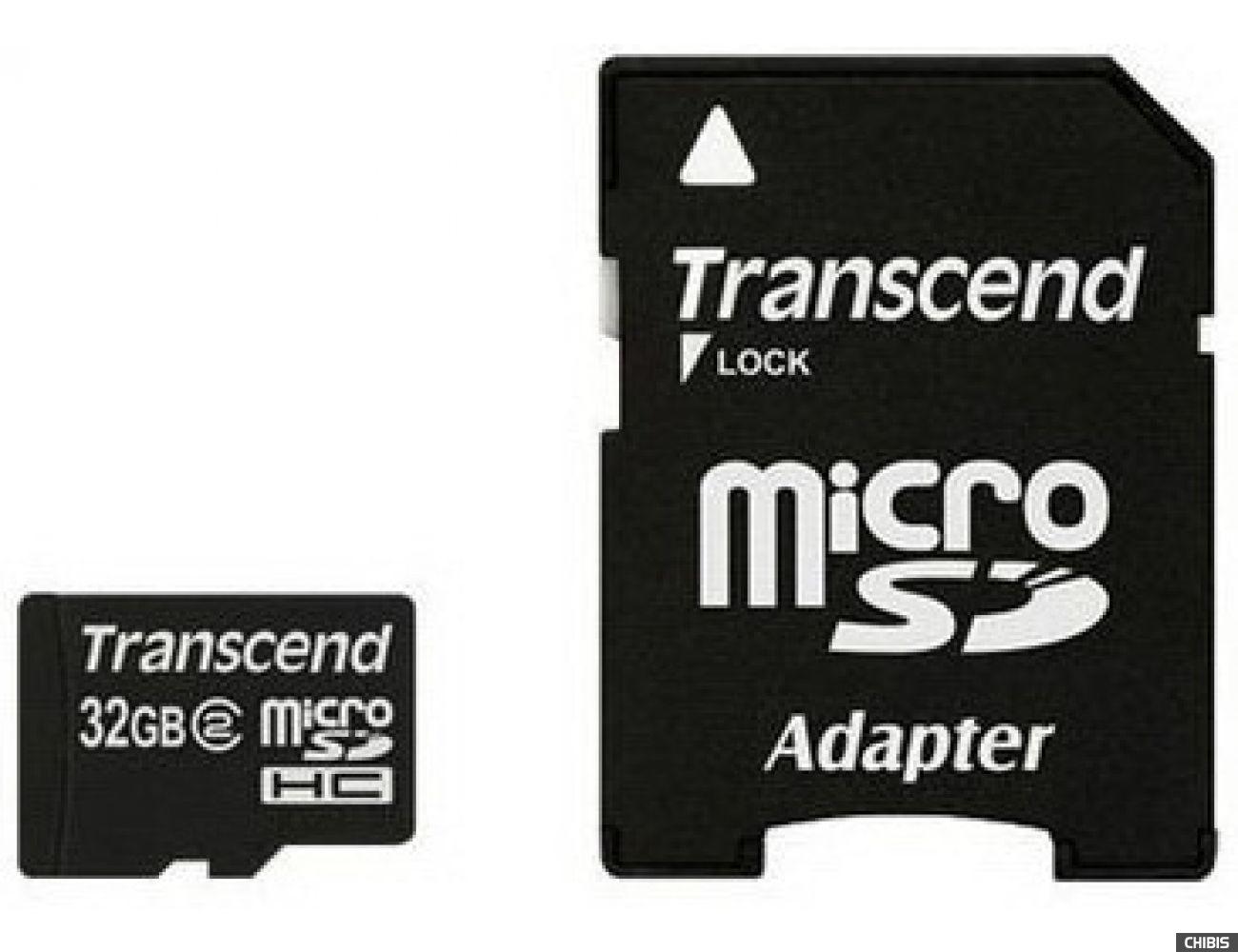 Карта памяти Transcend MicroSDHC 32Gb (Class 2) + SD адаптер