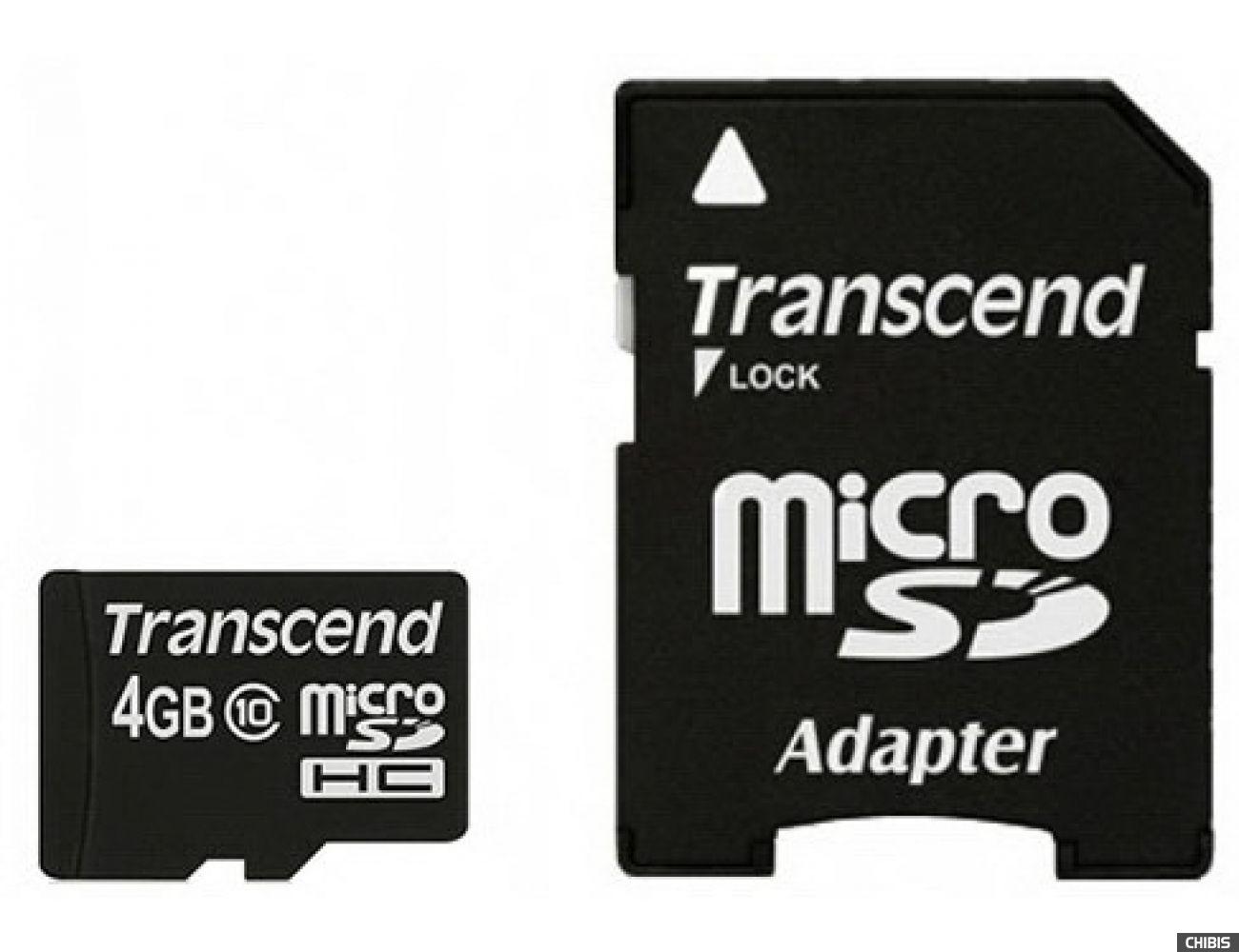 Карта памяти Transcend MicroSDHC 4Gb (Class 10) + SD адаптер