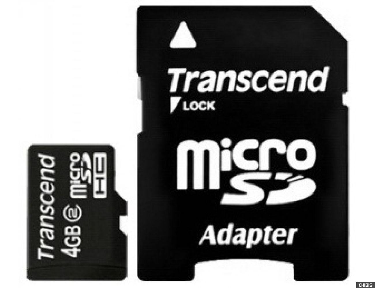 Карта памяти Transcend MicroSDHC 4Gb (Class 2) + SD адаптер