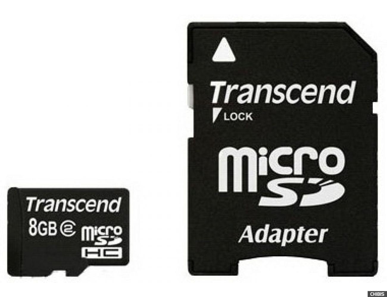 Карта памяти Transcend MicroSDHC 8Gb (Class 2) + CardReader