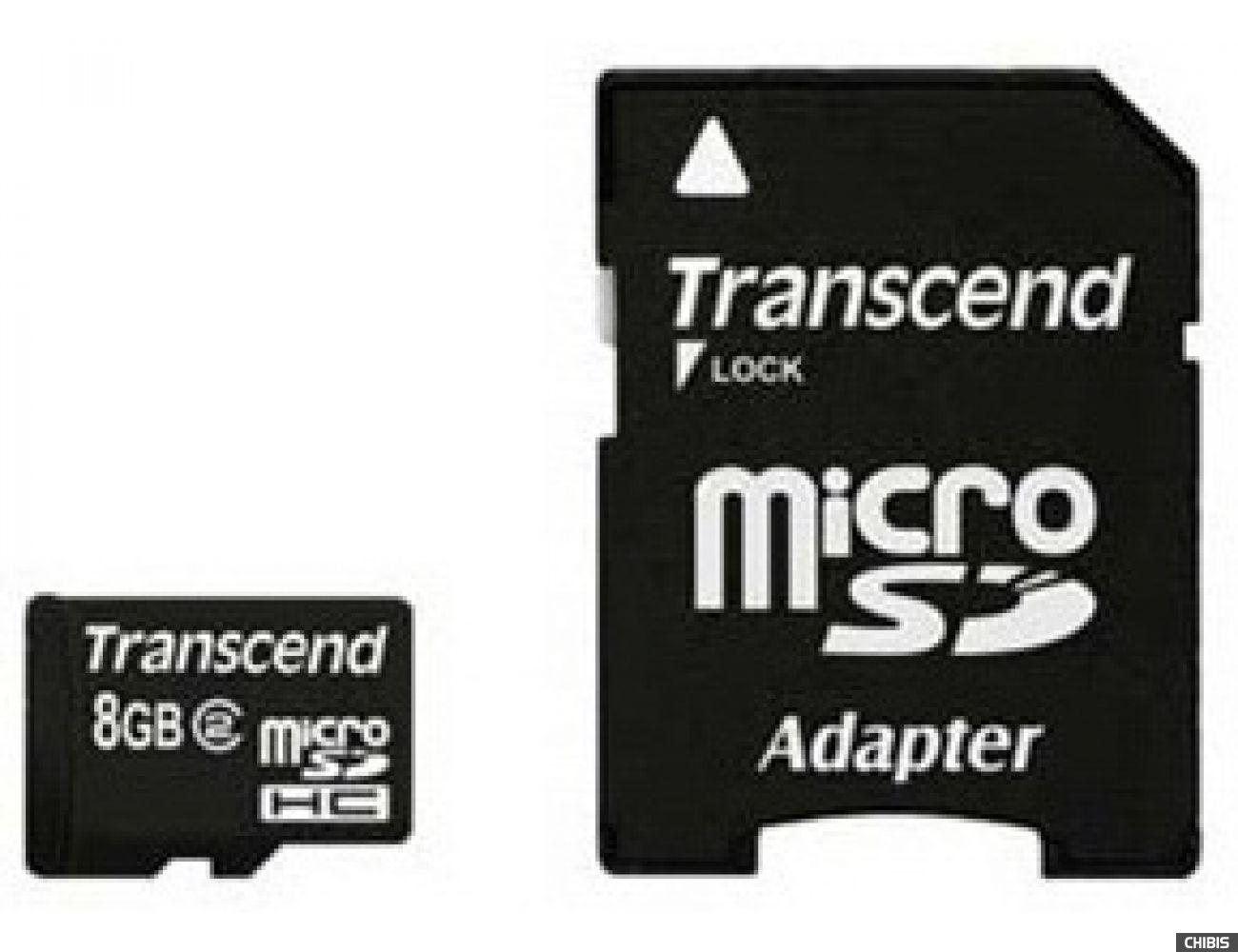 Карта памяти Transcend MicroSDHC 8Gb (Class 2) + SD адаптер