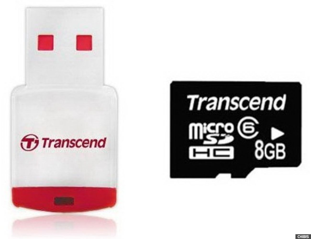 Карта памяти Transcend MicroSDHC 8Gb (Class 6) + CardReader