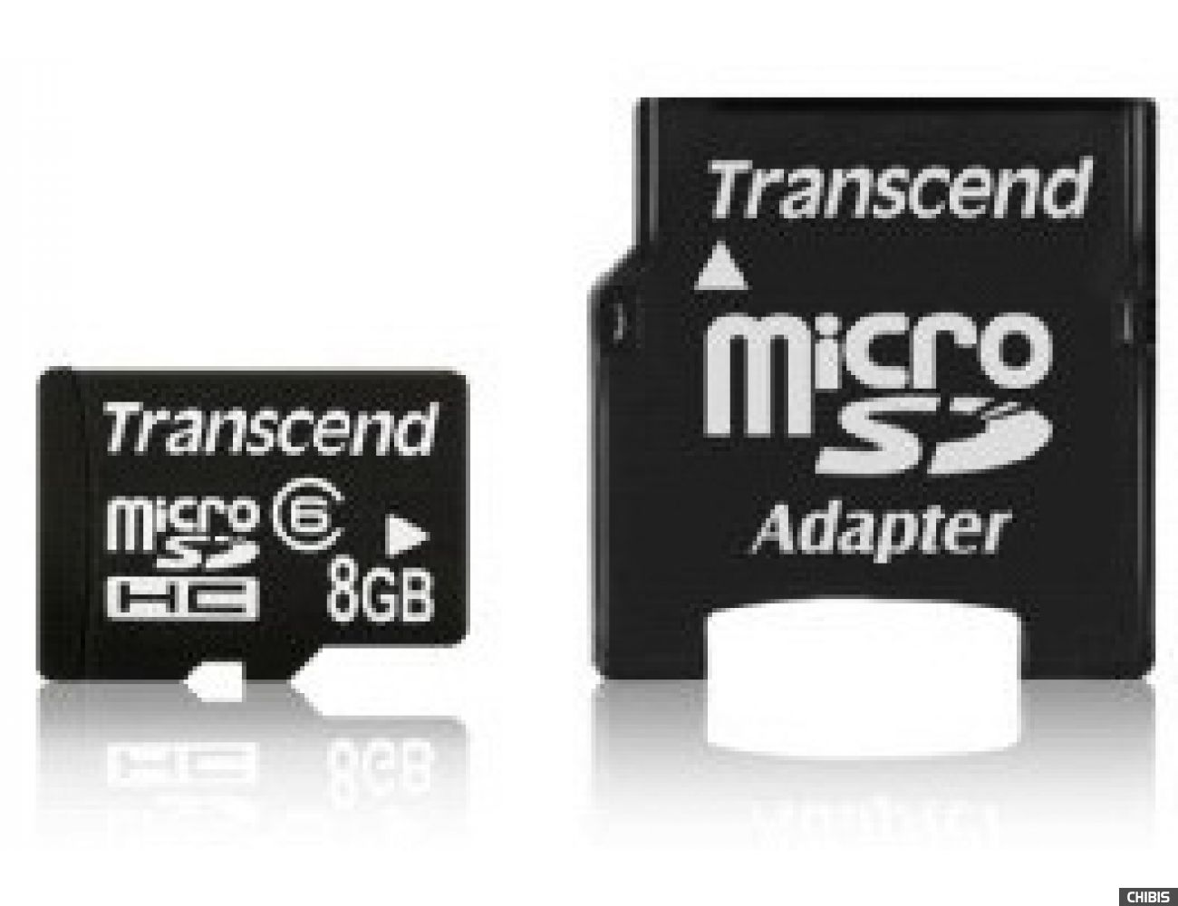 Карта памяти Transcend MicroSDHC 8Gb (Class 6)  + miniSD adapter