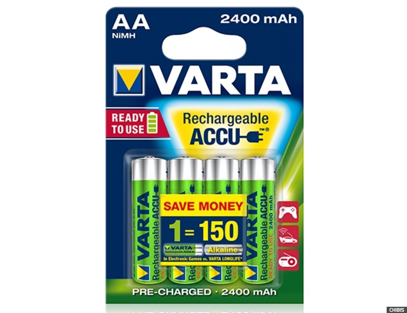 Аккумуляторные батарейки Varta АА 2400 mAh Ni-Mh Ready to Use блистер 4/4 56756101404