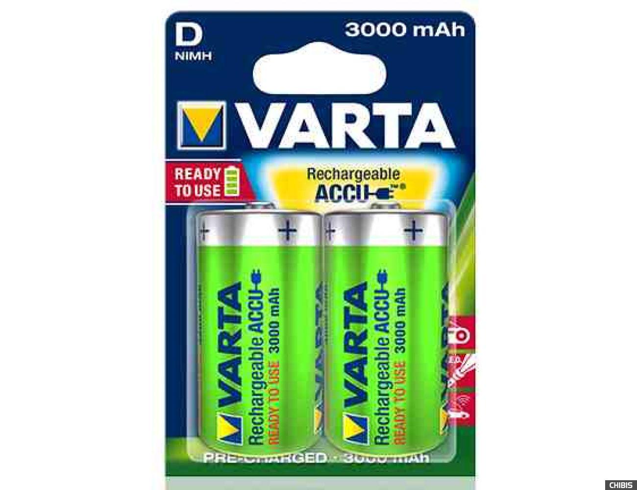 Аккумуляторные батарейки D Varta 3000 mAh Power R2U HR20 2 шт
