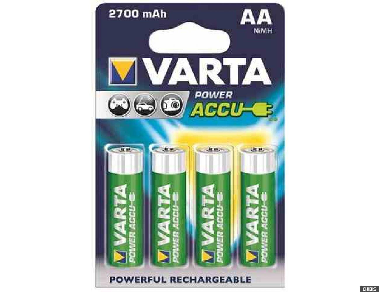 Аккумуляторные батарейки АА Varta 2700 mAh Power (HR6 Ni-MH) 4/4 шт. 56766101404