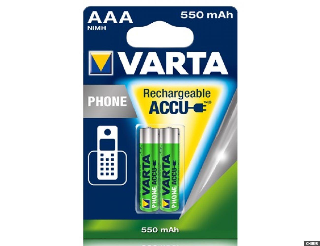 Аккумуляторные батарейки ААА для радиотелефона Varta 550 mAh Phone 2/2 шт. 58397101402