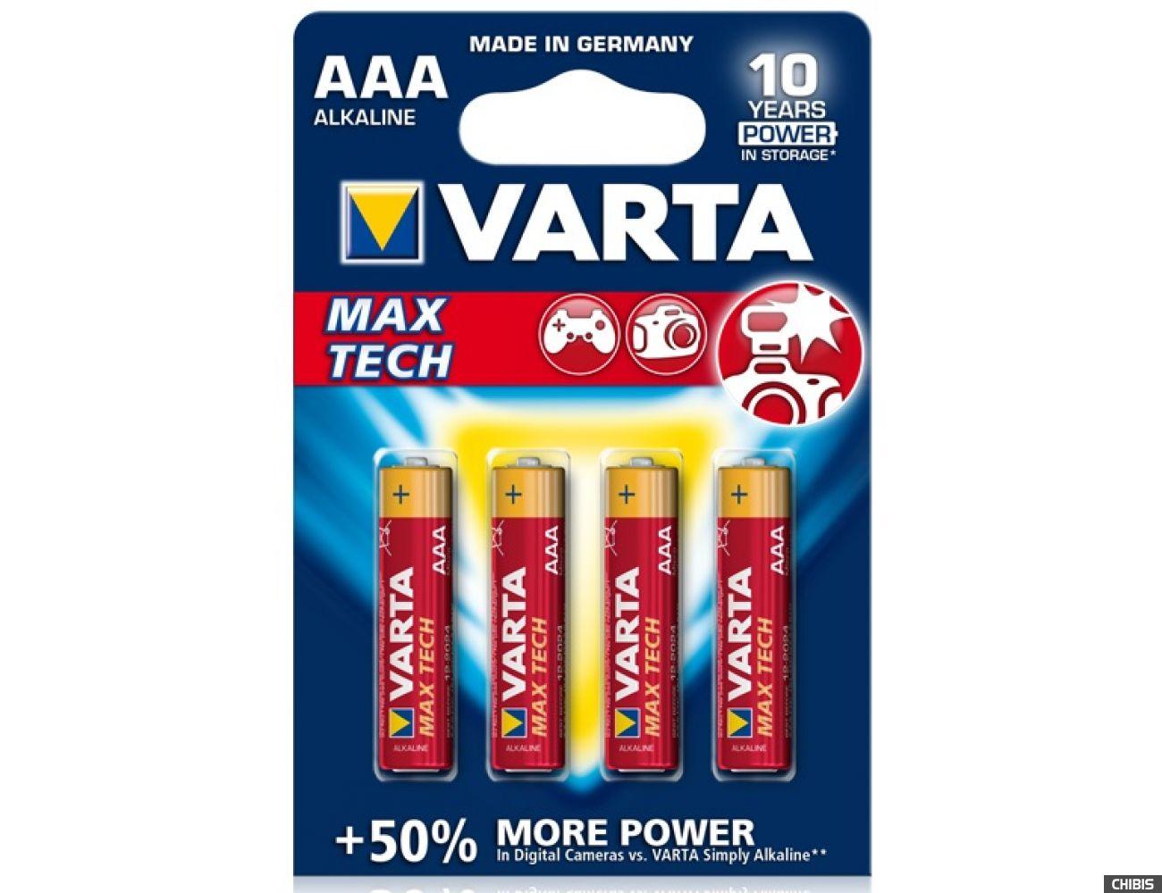 Батарейка Varta AAA MAX TECH (LR03, 1.5V, Alkaline Щелочная)