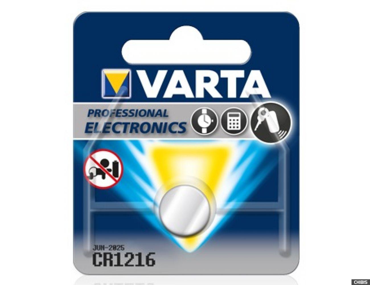 Батарейка Varta CR1216 Professional Electronics(25mAh, 3V, Литиевая) 06216101401