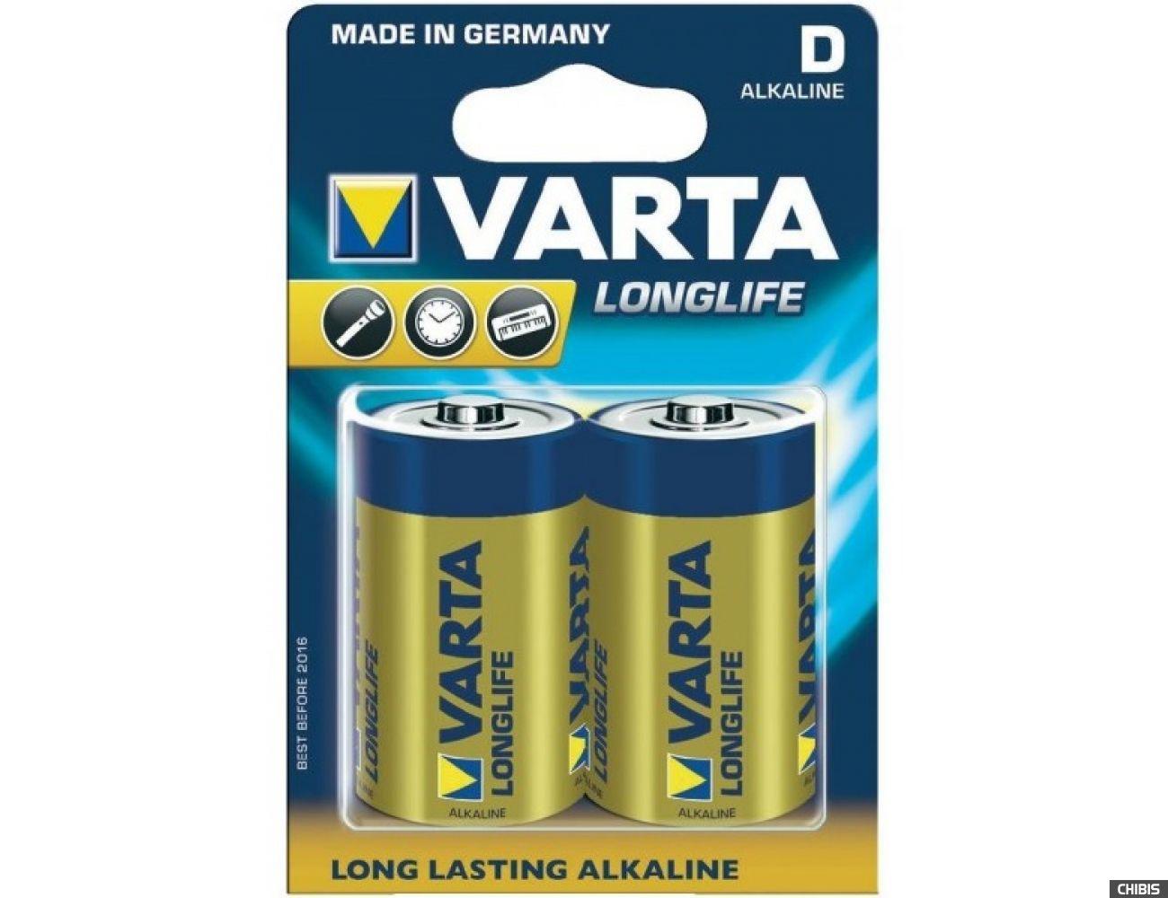 Батарейка Varta D Longlife Extra (LR20, 1.5V, Alkaline Щелочная) 04120101412 1/2 шт