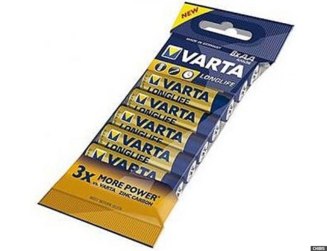 Батарейка Varta AA Longlife Extra LR06, 1.5V, Alkaline  Щелочная 8/8 пленка 04106101328