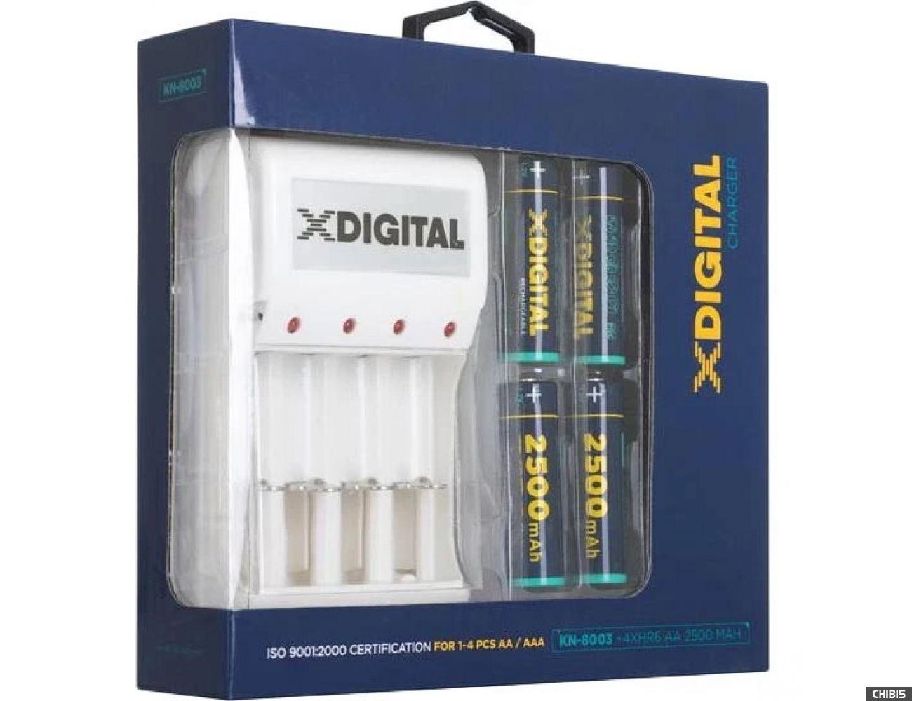Зарядное устройство X-Digital KN-8003 + 4 аккумулятора HR6 Ni-MH 2500 mAh