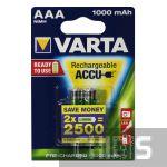 Аккумуляторные батарейки Varta ААА 1000 mAh R2U HR3 Ni-MH 2/2 шт. 05703301402