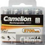 Аккумуляторные батарейки АА Camelion 2700 mAh Ni-MH 1/4 пластиковый бокс