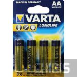Батарейка АА Varta Longlife LR06 1.5V Alkaline блистер 4/4 шт.