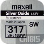 Батарейка для часов 317 Maxell SR516SW Silver Oxide 1.55V 1 шт.