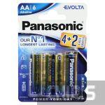 Батарейка АА Panasonic Evolta LR06 1.5V Alkaline 4+2 бесплатно блистер 6/6 шт.