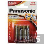 Батарейка ААА Panasonic Pro Power Alkaline 1.5V блистер 6 шт (4+2)