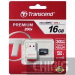 Карта памяти Transcend MicroSDHC 16Gb (Class 10) + CardReader