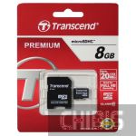 Карта памяти Transcend MicroSDHC 8GB (Class 10) + SD адаптер