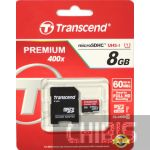 Карта памяти Transcend MicroSDHC 8GB Class 10 + SD адаптер Premium 400x TS8GUSDU1