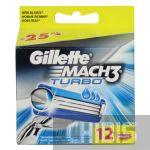 Gillette Mach3 Turbo лезвия для бритвы 12 шт 3014260298111