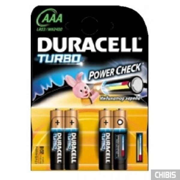 Батарейка Duracell AAA Turbo (LR03, 1.5V, Alkaline  Щелочная) 4/4 шт. 5000394069220