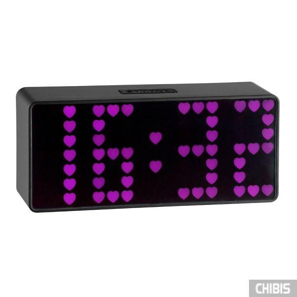 """Настольные часы TFA """"Time Block"""" (98108312), ИК-сенсор, розовая индикация, 93x212x60мм"""