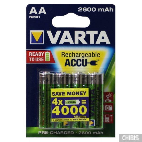 Аккумуляторные батарейки АА Varta 2600 4 шт 5716