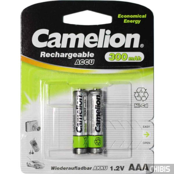 Аккумуляторные батарейки ААА Camelion 300 mAh Ni-Сd R03 блистер 1/2 шт