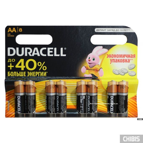 Батарейка АА Duracell Basic (LR06, 1.5V, Alkaline Щелочная) 8 шт.