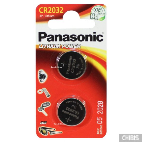 Батарейка CR2032 Panasonic 3V Литиевая 2 шт.