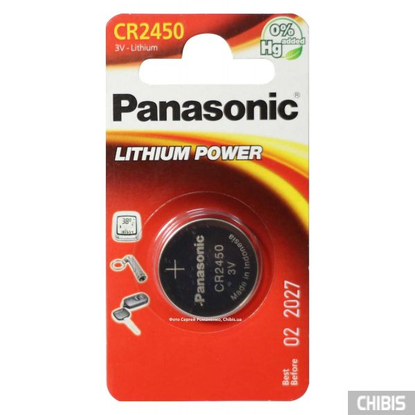 Батарейка CR 2450 Panasonic 3V Литиевая