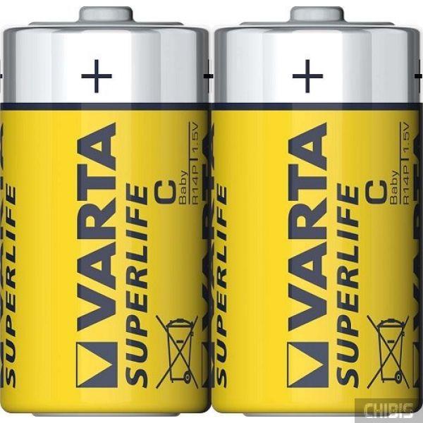Батарейка C Varta Superlife R14, 1.5V Цинково-угольная 2/2 шт пленка